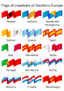 Flying Flags Of Southern Europe Countries In Waves Royalty Free Stock Photos - 75941398
