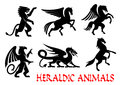 Heraldic Animals Emblems Silhouette Elements Stock Photos - 75948403