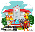 Fire Fighter At Fire Scene Royalty Free Stock Photography - 75951387