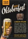 Poster To Oktoberfest Festival. Hands Holding Beer Glasses Glass And Wooden Barrel. Royalty Free Stock Photo - 75960245