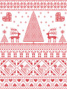 Scandinavian Printed Textile  Style And Inspired By  Norwegian Christmas And Festive Winter Seamless Pattern In Cross Stitch Stock Photo - 75971560