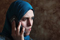 Sad Arab Muslim Businesswoman With Mobile Royalty Free Stock Photography - 75993447
