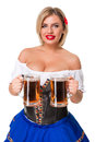 Beautiful Young Blond Girl Of Oktoberfest Beer Stein Royalty Free Stock Photo - 75993895