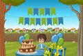 Banners Over Cartoon Boy At A Birthday Party Royalty Free Stock Photo - 76003415