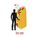 Lover Taco. Love To Mexican Food. Man And Fastfood. Lovers Holdi Royalty Free Stock Image - 76024096