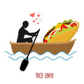 Lover Taco. Man And Fastfood And Ride In Boat. Lovers Of Sailing Royalty Free Stock Photos - 76024608