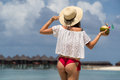 Close Up Girl Back In Bikini Against Ocean Beach And Coconut Royalty Free Stock Image - 76026256