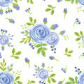 Watercolor Blue  Flowers.Cute Seamless Pattern Royalty Free Stock Photo - 76027375