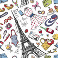 Paris France Fashion Seamless Pattern.Summer Womancolored Wear Royalty Free Stock Photo - 76027625