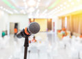 Close Up Black Microphone In Meeting Hall Royalty Free Stock Photos - 76028888