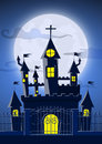 Spooky Ghost Castle With Full Moon In Background Royalty Free Stock Images - 76032319