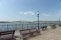 Benches On Pier At Swanage Royalty Free Stock Image - 76036096