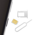 Smartphone, Small Nano Sim Card, Sim Card Tray And Eject Pin. Vector Objects Isolated On White. Realistic Vector Icons Royalty Free Stock Images - 76039679