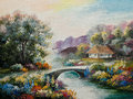 Oil Painting On Canvas - Ukraine House In The Forest Stock Image - 76039951