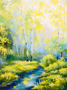 Oil Painting - Spring Landscape, River In The Forest, Colorful Stock Image - 76040271