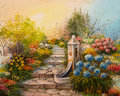 Oil Painting - Stone Stairs In The Forest Royalty Free Stock Photo - 76040345