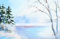 Oil Painting Winter Landscape, Frozen River In The Forest Stock Photography - 76040352