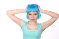 Girl With Blue Wig Holding Her Head. Close Up. White Background Royalty Free Stock Photography - 76043887