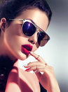 Sexy Model Girl Wearing Sunglasses Royalty Free Stock Photos - 76060618