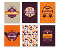 Set Of Halloween Vertical Banners With Labels Stock Images - 76061194