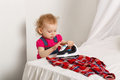 Cute Little Girl With An Iron. Royalty Free Stock Images - 76067219