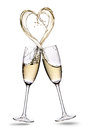 Glasses Of Champagne With Heart Shape Splash Isolated On A White Background Stock Images - 76069844