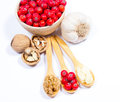 Fresh Fruit Of Hawthorn, Garlic And Walnuts. The Concept Of Alternative Medicine. Royalty Free Stock Images - 76082479