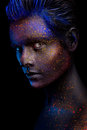 Glowing Neon Makeup With Dramatic Look In His Eyes. Stock Images - 76083004