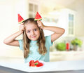 Child Girl Eat Watermelon Indoors Background Empty Space. Stock Photography - 76096952