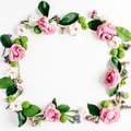 Round Frame Wreath Pattern With Roses, Pink Flower Buds, Branches And Leaves Stock Photo - 76099920