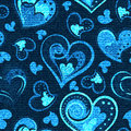 Jeans Background With Hearts. Vector Denim Seamless Pattern. Blue Jeans Fabric Royalty Free Stock Images - 76104549