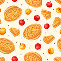 Seamless Pattern With Apple Pies And Apples. Vector Illustration. Royalty Free Stock Images - 76107839