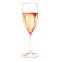 Watercolor Champagne Sparkling Wine Glass Alcohol Isolated Stock Image - 76113721