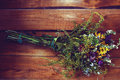 Dried Flowers On Rustic Wooden Background Royalty Free Stock Photography - 76121667