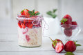 Healthy Breakfast: Overnight Oats With Fresh Strawberries Stock Image - 76135141