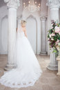 Charming Young Bride In Luxurious Wedding Dress. Pretty Girl, The Photo Studio Royalty Free Stock Photos - 76140318