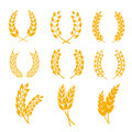 Rye Wheat Ears Wreaths Vector Elements For Bread And Beer Labels, Logos Royalty Free Stock Image - 76164696
