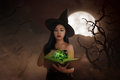 Asian Wizard Woman Holding Spell Book Royalty Free Stock Image - 76164756