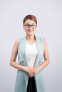 Beautiful Asian Young Business Woman On Grey Background. Stock Photo - 76171400