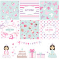Birthday And Girl Baby Shower Design Elements. Royalty Free Stock Images - 76180479