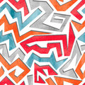 Watercolor Graffiti Colorful Seamless Pattern In Red, Orange And Blue Colors. Stock Photography - 76189622