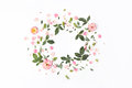 Floral Round Frame With Rose Flowers, Petals, Red Berries, Leaves Royalty Free Stock Image - 76196956