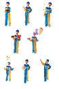 Set Of Pictures Of Little Clown Which Gives Gift, Juggling Balls, Smiles, Holding Red Heart And Gives Gift With Balloons Royalty Free Stock Images - 76207899