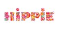 Hippie Lettering With Abstract Colorful Flowers Stock Image - 76208841
