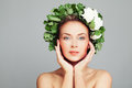 Spa Beauty Portrait Of Perfect Woman With Pretty Face And Wreath Stock Image - 76213271