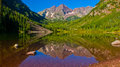 Infamous Maroon Bells Aspen Mountain Colorado Landscape In June Stock Photos - 76214443