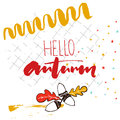 Hello Autumn Text Handwriting On The Squared Notebook Paper.  Stock Photos - 76215433