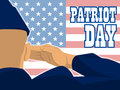 Patriot Day Card With The Flag Of Unites States Of America And A Military Soldier With Hand Gesture Saluting Royalty Free Stock Photos - 76227768