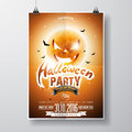 Vector Halloween Party Flyer Design With Typographic Elements And Pumpkin Moon On Orange Background Royalty Free Stock Photo - 76228355