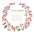 Watercolor Leaf, Berries And Flowers Round Frame. Stock Photos - 76232843